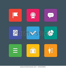 Material Design Style Icons Vector Sign Stock Vector