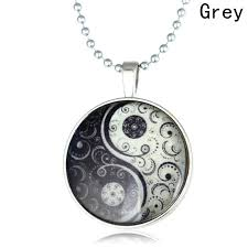 whole glow in the dark yin yang pendant necklace tai chi glass dome cabochon luminous jewelry silver chain glowing necklace men women personalized