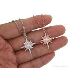 whole fashion gold plated jewelry northstar pendant necklace with clear cz white fire opal gemstone starburst 2018 gift jewelry silver