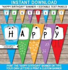 Monster Party Banner Template | Birthday Banner | Editable Bunting