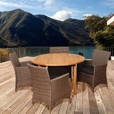 ia downey 5 piece teak round patio dining set with grey cushions