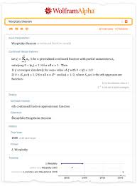 some of the output from entering worpitzky theorem into wolfram alpha