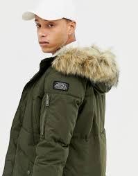 men s hooded er jacket with faux fur hood by jack jones