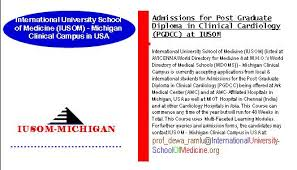 admissions for post graduate diploma in clinical cardiology pgdcc  admissions for post graduate diploma in clinical cardiology pgdcc at iusom michigan clinical
