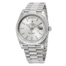 rolex day date 40 silver dial 18k white gold president automatic rolex day date 40 silver dial 18k white gold president automatic men s watch 228239ssp