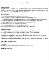 Associate Editor Job Description Sample 8 Examples In