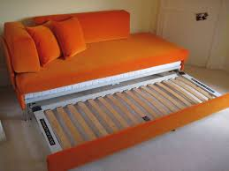 Double sofa bed in Linwood Omega velvet (18 orange) with a small ...
