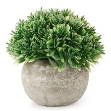 small office plant. (Green Leaf) - Kumii Artificial Plastic Potted Plant Small Topiary Plants In Pot, Office