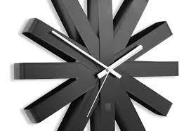 minimalist black ribbon wall clock by