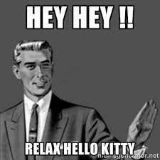 hey hey !! relax hello kitty - Correction Guy | Meme Generator via Relatably.com