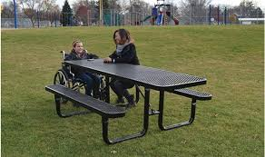 black supersaver commercial rectangular picnic tables wheelchair accessible