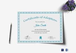 Pet Adoption Certificate Template Adoption Certificate Template 19 Free Pdf Psd Format