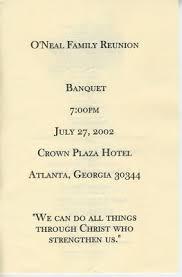 Banquet Program Examples Previous Oneal Family Reunion Banquet Programs O Neal