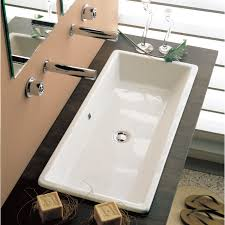 bathroom sink scarabeo 8033 rectangular white ceramic drop in or vessel sink