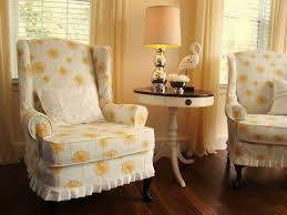 how to cover furniture. Furniture \u0026 Accessories, Stunning White Yellow Dandelion Slipcovers For Wingback Chairs Chair Covers Recliner How To Make Wing Slipcover Cover ,