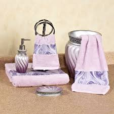 bathroom accessories sets silver. Bathroom Accessories Sets With Purple Little Towel And Silver Material
