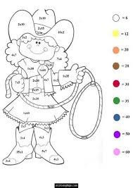 Small Picture math worksheet cowgirl color by numbers coloring page for kids