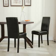 details about elegant modern parsons chair leather dining living room chairs seat set of 2