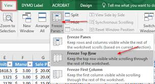 freezing rows and columns in excel