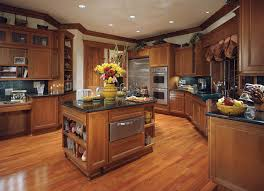 design your own kitchen using brown mahogany kitchen cabinets and kitchen island with black granite countertop on brickwork parquet