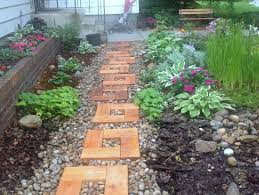 wood and stone path with cedar stepping stones