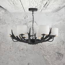 6 light black antler chandelier