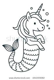 Unicorn Color Page Cute Coloring Pages Mermaid Vector Cartoon