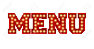 The Word Menu Menu Word Made From Red Vintage Lightbulb Lettering Isolated