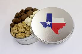 all time favorite pecans and cans in a texas tin