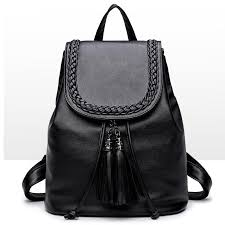 black backpack pretty style pu leather women black 15 inches backpack fashion female casual girls school shoulder bags for women s backpack