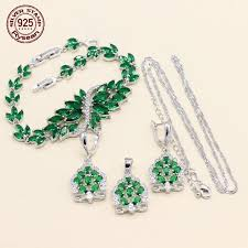 925 silver necklace pendant earrings bracelet jewelry set for women gift plant green semi precious 2018 new arrival with 48 93 piece on