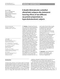 pdf a double blind placebo controlled clinical trial pares the cholesterollowering effects of two diffe soy protein preparations in