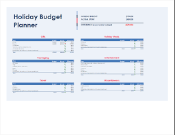 Meal Budget Planner Holiday Budget Planner