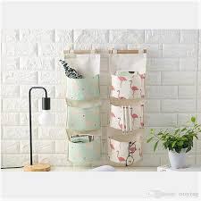 wall hanging storage.  Storage Best Flamingo Pattern Cotton Linen Hanging Storage Bag 3 Pockets Wall  Mounted Wardrobe Hang Pouch Cosmetic Toys Organizer Under 262  DhgateCom For M