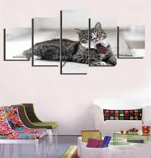 5 pieces set funny cat wearing tie canvas painting children s room decoration print canvas pictures unframed home decoration in painting calligraphy from