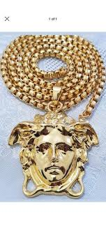 gold plated medusa face frame pendant high quality milionaires collection