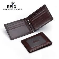dker men rfid leather money clip wallet slim credit card holder