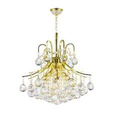 empire collection 6 light polished gold and clear crystal chandelier