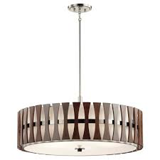 cirus large drum pendant or semi flush fitting ceiling light with dark wooden accents