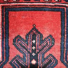 persian rug in red black blue cream tribal bakshaish hand knotted wool in good condition
