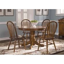 liberty furniture nostalgia round pedestal dining table in medium oak