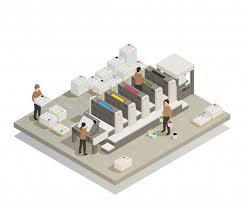 Процесс печати изометрии | Бесплатно векторы