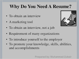 ... applying; 7. Why Do You Need A Resume?