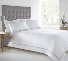 west park 100 cotton twin satin stitch duvet set white double