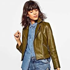 zara light khaki short biker jacket with zip details authentic woman s 3427 227