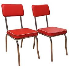 red retro chairs. Target Marketing Systems Set Of 2 Retro Upholstered Vinyl Dining Chairs With Chrome Accents, Red