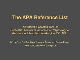 The Apa Reference List This Tutorial Is Adapted From The Ppt Download