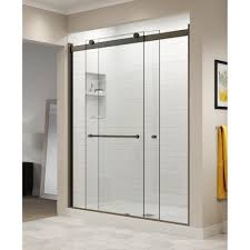 Basco Rotolo 60 In X 70 In Semi Frameless Sliding Shower Door In Oil Rubbed Bronze With Handle