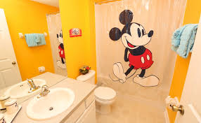 cartoon bathroom sink and mirror. Disney Kids Bathroom Sets With Mickey Mouse Shower Curtains And Undermount Sink Under Large Mirror In Yellow Painted Wall Cartoon