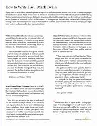 how to write like mark twain worksheet com